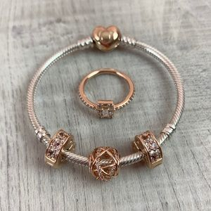 Pandora Rose Bracelet Set with Charms & Ring